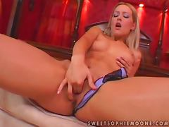 Sophie Moone fingers her pussy before fucking it with a toy tube porn video