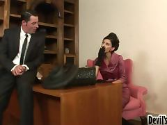 Jack Vegas and Nikki Daniels get naughty in the study tube porn video