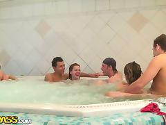 Orgy With College Girls In A Hot Tub tube porn video