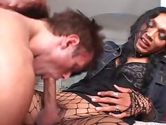 Naughty brunette transsexual babe fucks a guy in the ass tube porn video
