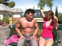 Jennifer Dark enjoys some naughty banging in a truck tube porn video