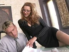 Horny boss sucks her employee's dick and gets fucked tube porn video