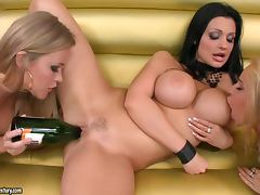 Three hot lesbians slam each other's pussies with a bottle tube porn video