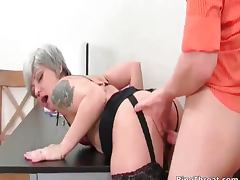 Slutty MILF gives blowjob to horny tube porn video