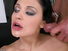 Aletta Ocean enjoys perfect DP and gets cum on her face and tits tube porn video