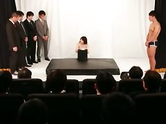 Busty Japanese Akane Mizuki Gets Fucked by a Bunch of Guys in Theater Show tube porn video