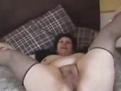 Mature fattie shows off her hairy vagina and fingers it tube porn video