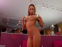 Aleska Diamond spreads her legs wide to play with her snatch tube porn video