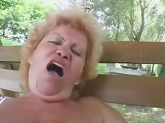 Hairy granny Effie anal outdoor tube porn video
