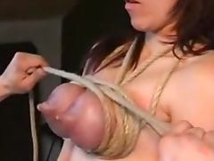 Lactation for a pain loving blondie getting her tits tied tube porn video