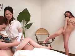 Yumi Kazama gets fondled by two lewd lesbians indoors tube porn video
