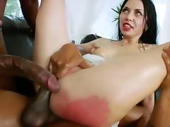 Two monster black cock in her anus tube porn video
