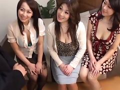 Three Japanese milfs play with some clothed guy's hard prick tube porn video