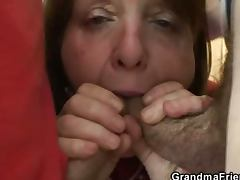 Old bitch takes it from both ends tube porn video