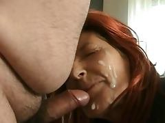 Redhead mature in stilettos gets BIG facial from hubby tube porn video