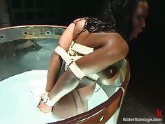 Ebony Jada Fire gets humiliated in water bondage video tube porn video