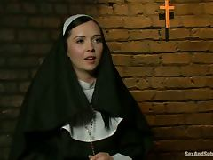 Slutty nun gets tied up and fucked rough by two guys tube porn video