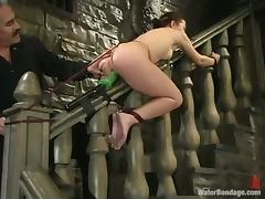Tied up bitch gets drowned and then toyed by a machine tube porn video