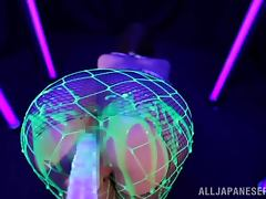 Beautiful Japanese Ria Horisaki Gets Toyed and Oiled Under Black Light tube porn video