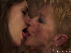 Short Haired Granny Having Hot Lesbian Sex with Pretty Teen tube porn video