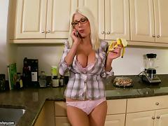 Sweet Puma Swede blows and rides a dick in the kitchen tube porn video
