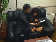 Sexy Japanese girl in stockings gets nailed at the interview tube porn video