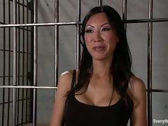 Naughty Tia Ling gets toyed and fucked hard in a prison ward tube porn video