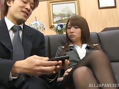 Mako Higashio gets blackmailed and mouth-fucked in an office tube porn video
