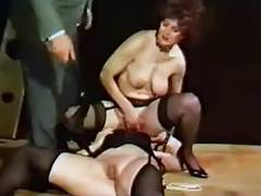 Vintage Old And Young videos. Lovely 50's sandy-haired grandma takes on two young men and drills them both in vintage clips