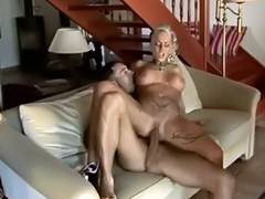 Hawt golden haired tattooed mother i'd like to fuck drilled by large wang tube porn video