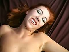 Skinny redhead opens her wet crack to display her large labia then copulates tube porn video
