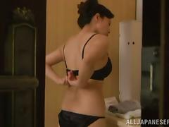 Mai Itou takes a shower and doesn't know about the voyeur tube porn video