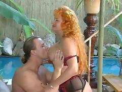 Hot Redhead Mature fuckin by the pool tube porn video