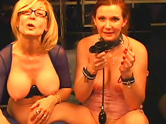 Mature mistress wearing glasses dominates redhead slave tube porn video