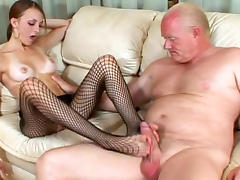 Skinny babe is sucking that tasty old dick tube porn video