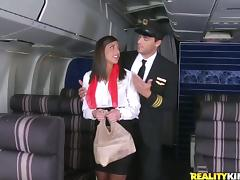 New sexy stewardess had been dreaming about to have sex with the pilot tube porn video
