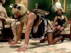 Crossdresser Guy in Maid Costume Strapon Fucked by Maitresse Madeline tube porn video