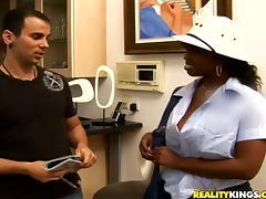 Delotta Brown the busty ebony chick in interracial video tube porn video