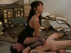 Pegging and Face Sitting Action by Foot Fetish Gia Dimarco in Femdom tube porn video