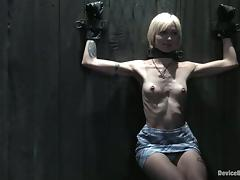 Skinny blonde babe in glasses gets tortured and humiliated tube porn video