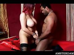 Busty Amsterdam hoe showing her great blowjob skills tube porn video