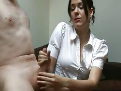 Cfnm brunette gives handjob tube porn video