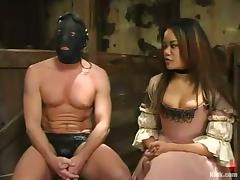 Naughty Anne Cruz humiliates and toys some guy in mask tube porn video
