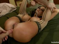 Ava Addams gets her mouth and ass fucked by James Deen in BDSM scene tube porn video