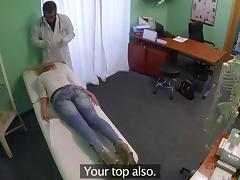 Doctor with gloves fingering and fucking a blonde in office tube porn video