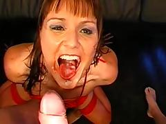 Two brunettes wearing stockings get fucked in a gangbang tube porn video