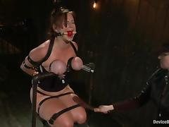 Bella Rossi gets multiple orgasms while being tormented in a cellar tube porn video