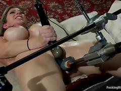 Sara Jay gets her cunt double fucked by a sex machine tube porn video
