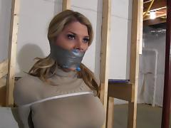 Chesty Blonde Restrained with Zip Ties & Gagged tube porn video