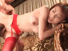Sexy red stockings on Japanese girl banging tube porn video